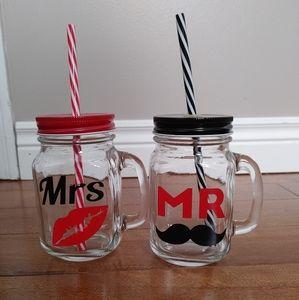 Mr. & Mrs. Wedding mason jar mugs glasses